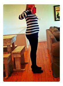 Me with my (not so huge) bump.